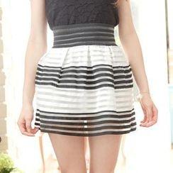 Tokyo Fashion - Striped Mesh Mini Skirt