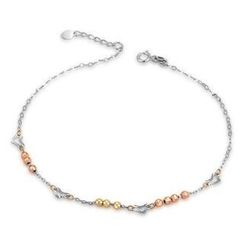 MaBelle - 14K Italian Tri-Color Yellow, Rose and White Gold Diamond-Cut Heart and Beads Anklet, Women Girl Jewelry in Gift Box