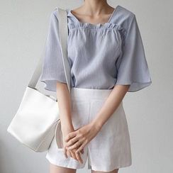 mimi&didi - Square-Neck Elbow-Sleeve Frill-Trim Top