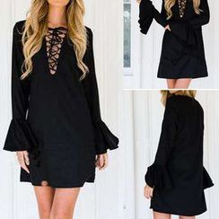 Aquello - Lace-Up Bell-Sleeve Shift Dress