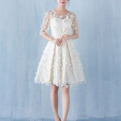 Luxury Style - Petal Elbow Sleeve Mini Prom Dress
