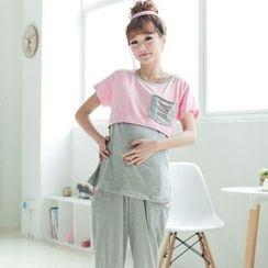 GESTA - 孕妇套装: 长袖插色T恤 + 裤
