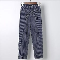 AIGIL - Pinstriped Bow Pants