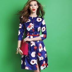 Ozipan - 3/4-Sleeve Printed Dress