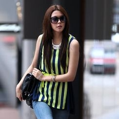 SO Central - Sleeveless Striped Trapeze Top with Belt