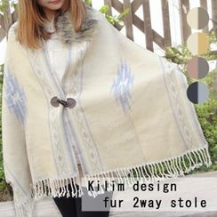 Tiritana - Faux-Fur Collar Patterned Poncho