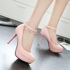 Pastel Pairs - Embellished Ankle Strap Pumps