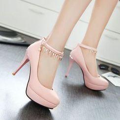 Pastel Pairs - 綴飾踝帶高跟鞋