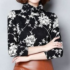 Fashion Street - Floral Print Turtleneck Long Sleeve Top