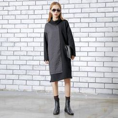Sonne - 不對稱拼接高領連衣裙