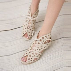Carnival Beast - Faux-Leather Cutout Sandals