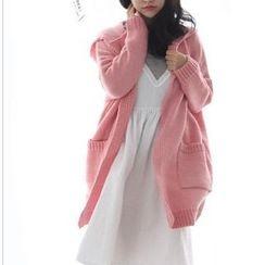 Eva Fashion - Plain Hooded Cardigan