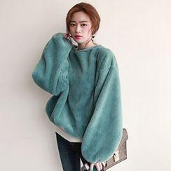 NIPONJJUYA - Faux-Fur Balloon-Sleeve Pullover
