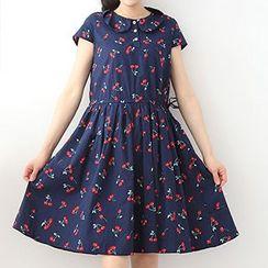 ninna nanna - Cherry Print Short-Sleeve Collared Dress