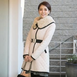 ode' - Fleece-Lined Wide-Collar Quilted Coat with Belt