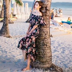 Babi n Pumkin - Off-Shoulder Floral-Pattern Ruffled Maxi Dress