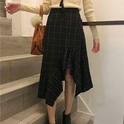 Dute - Asymmetric Hem Plaid Skirt