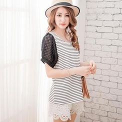 Tokyo Fashion - Short-Sleeve Bow-Back Striped Top