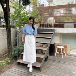 Miamasvin - Set: Wool Blend Knit Top + Wide-Leg Pants