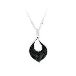 BELEC - 925 Sterling Silver Leaf Pendant with Black Cubic Zircon and Necklace