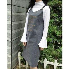 Oaksa - Lettering Strappy A-line Dress