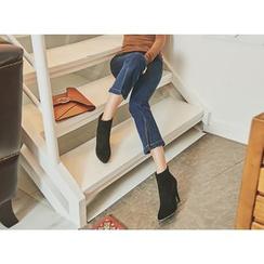 UUZONE - Boot-Cut Slit-Detail Cropped Jeans