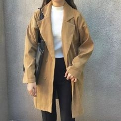 MePanda - Double-Breasted Long Blazer