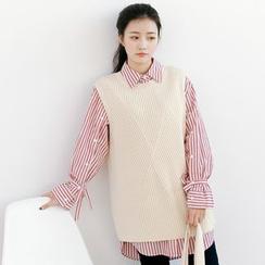 Forest Girl - 纯色罗纹针织马甲