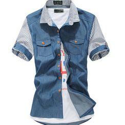 Free Shop - Striped-Panel Denim Shirt