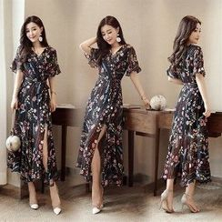 Romantica - Ruffle Sleeve Wrapped Neck Floral Maxi Dress