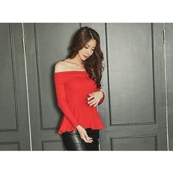 UUZONE - Off-Shoulder A-Line Top