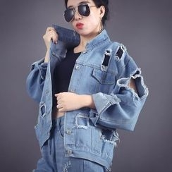 IndiGirl - Distressed Denim Jacket