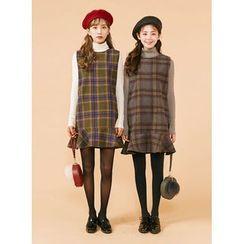 icecream12 - Sleeveless Check Mini Dress