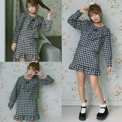 AMELA - Set: Plaid Long Sleeve Blouse + Frill Trim Mini Skirt