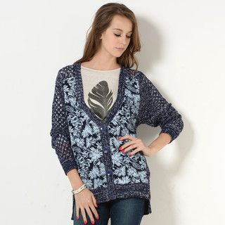 59 Seconds - Open-Knit Botanical Print Cardigan