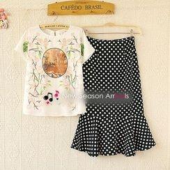 Ringnor - Set: Printed Top + Polka-Dot Skirt