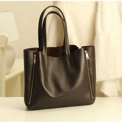 Pandabada - Genuine Leather Zip Shopper Bag