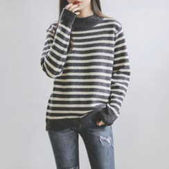 JUSTONE - Mock-Neck Stripe Wool Blend Knit Top