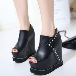 Anran - Rhinestone Peep Toe Wedge Platform Ankle Boots