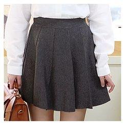 Sechuna - Band-Waist A-Line Knit Skirt