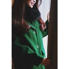 CHERRYKOKO - Notched-Lapel Snap-Button Wool Blend Coat