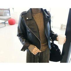 DANI LOVE - Faux-Leather Rider Jacket