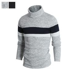 DANGOON - Turtle-Neck Contrast-Trim Pullover