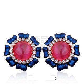 Viennois - Cat's Eye Stone Flower Earrings