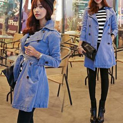 HOTPING - Double-Breasted Denim Trench Coat
