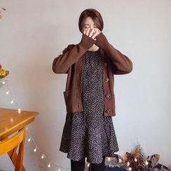 mimi&didi - Frill-Cuff Ruffle-Hem Pattern Dress