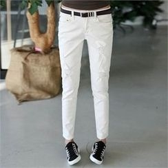 CHICFOX - Distressed Tapered Pants