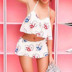 小桃泳衣 - 套装: 自行车印花比基尼泳衣上衣 + 泳裙