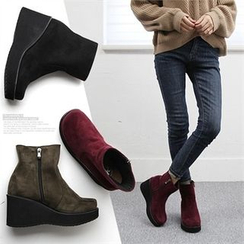 Reneve - Wedge-Heel Faux-Suede Short Boots