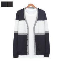DANGOON - V-Neck Color-Block Buttoned Cardigan